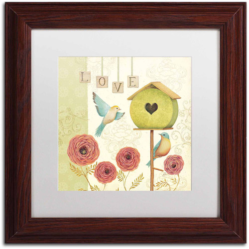 "Trademark Fine Art ""Welcome Home II"" Canvas Art by Daphne Brissonnet, White Matte, Wood Frame"