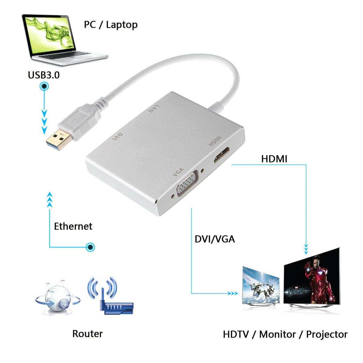 VGA External Graphics Video Card Adapter W// Network Lan DVI USB 3.0 to HDMI
