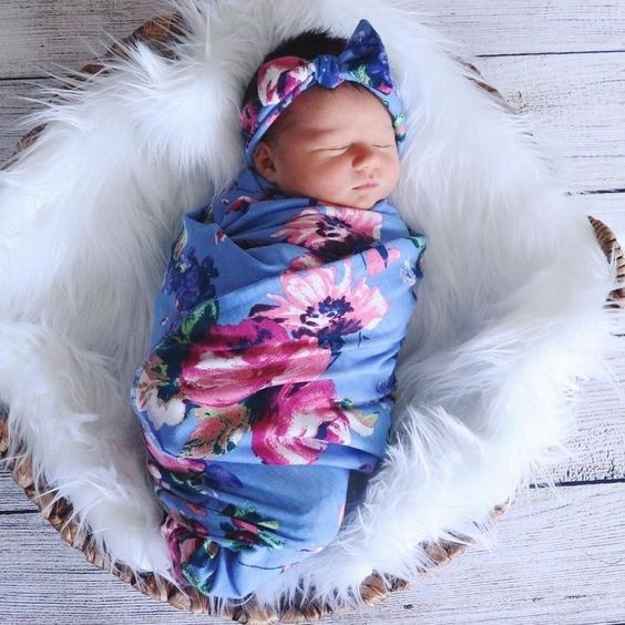 Swaddle Blanket,Newborn Baby Floral Sleeping Bag with Headband Shower Swaddle Cocoon Receiving Blanket Sleeping Wrap Sack Outfit