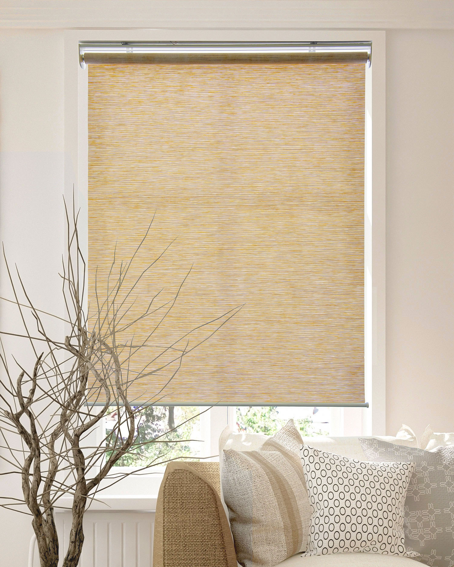 Chicology Privacy Natural Woven Snap N Glide Cordless Roller Shades Walmart Com Walmart Com