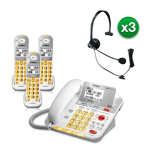 """Uniden D3098-3 with Headset DECT 6.0 Amplified Corded Cordless Phone w  2 Extra Handsets"" by Uniden"