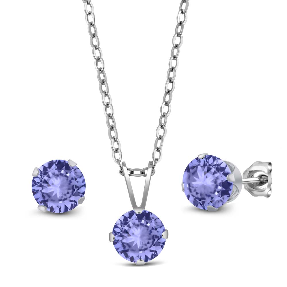 2.70 Ct Blue Tanzanite AAAA 925 Sterling Silver Pendant Earrings Set With Chain by