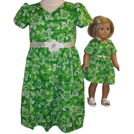 Size 6 Matching Girls and Doll Green Dress - Green Girl Dresses