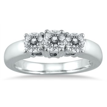 Ags Certified 1 Carat Tw Three Stone Diamond Ring In 10k White Gold