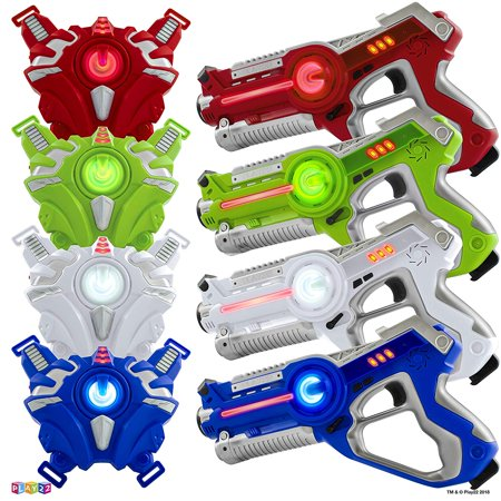 Laser Tag Sets Gun Vest - Infrared Laser Tag Set 4 Guns 4 Vests - Laser Tag Gun Toys for Indoor Outdoor - Laser Tag Game Set Best Gift Boys Girls - Original Laser tag guns for kids Blaster Set! - Great group activity laser tag guns 4 pack is designed with a solid grip in your hand, They are made with non-toxic ABS plastic to ensure complete safety. - Great Gift for Birthday and Holidays for Boys & Girls