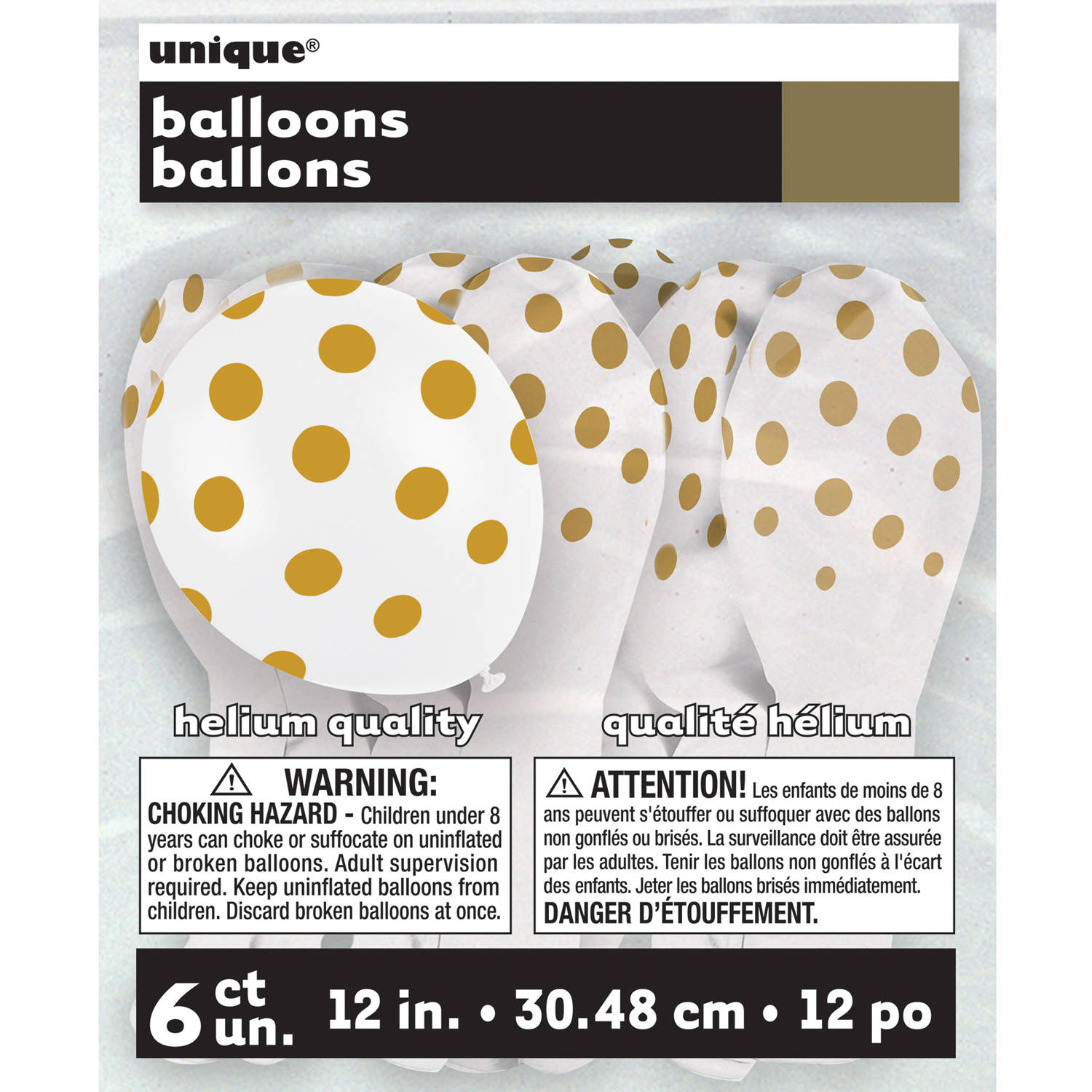 "12"" Latex Gold Polka Dot Balloons, 6ct"