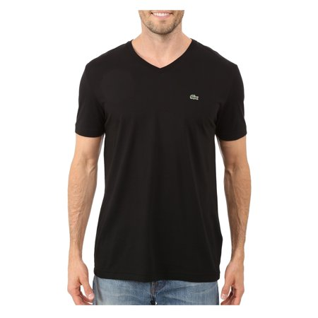 Lacoste Men V-Neck Regular Fit Pima Cotton Short Sleeve T-Shirt
