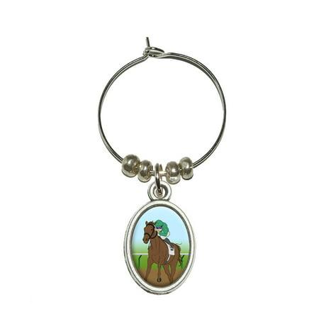 Horse Racing - Race Jockey Oval Wine Glass Charm](Wine Glass Charm)