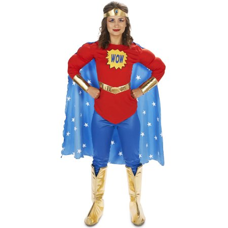 Pop Art Comic Super Woman - WOW with Leggings Women's Adult Halloween Costume