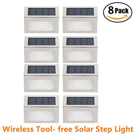 [Pack of 8] HowFine Outdoor Stainless Steel LED Solar Step Light Wireless Super Bright Modern White Lamp for Deck, Staircase, Walkway, Patio, Garden, Yard,