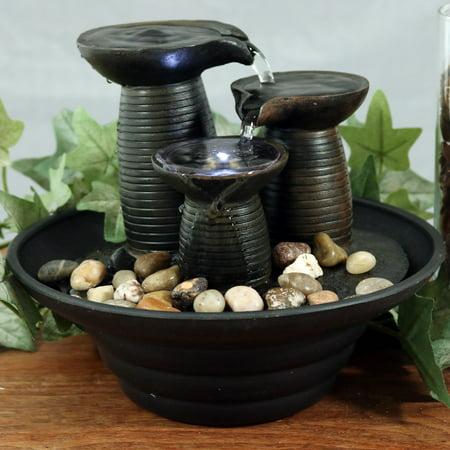 Tabletop Indoor Water Fountain - Sunnydaze Tabletop Water Fountain with LED Light, Indoor or Outdoor, Small Three Pillars