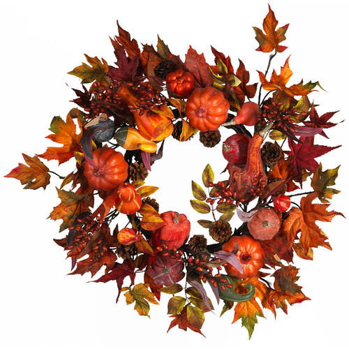 Nearly Natural Harvest Wreath