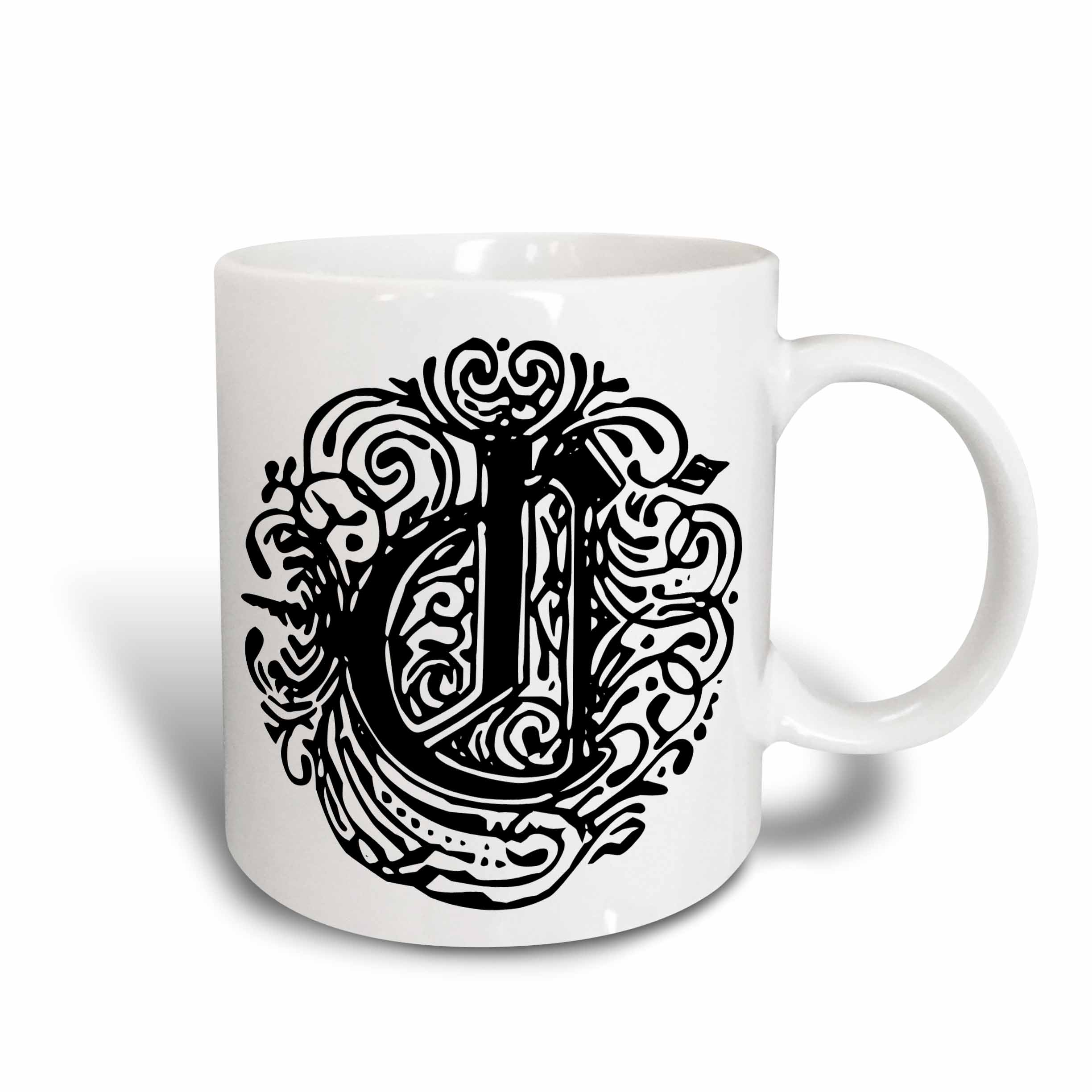3dRose Fancy Letter C, Ceramic Mug, 15-ounce