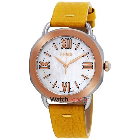 06422e48beb2 Fendi Selleria Mother of Pearl Dial Ladies Yellow Leather Watch  F8022345H0-YL - image 3 ...