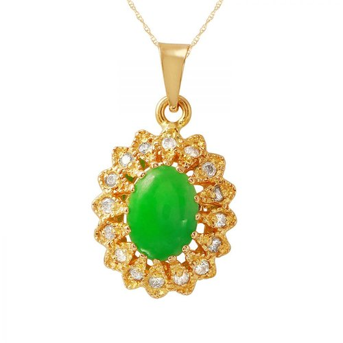 Foreli 1.46CTW Diamond And Chrysoprase 18k Yellow Gold Necklace by Generic