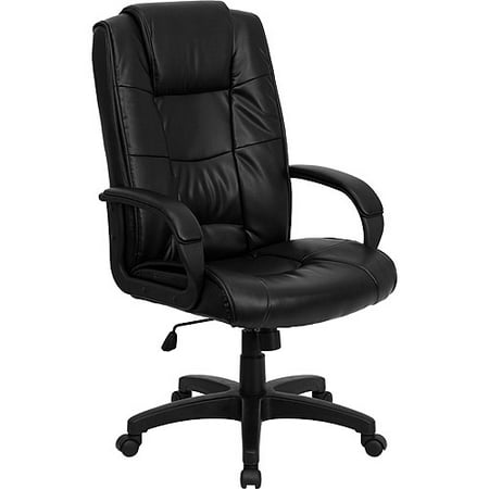 Leather Executive High-Back Office Chair with Lumbar Support, Black