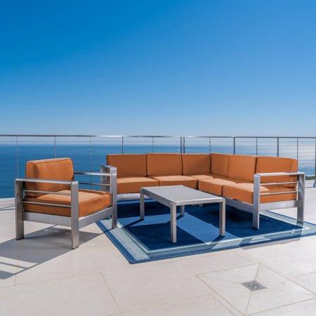 Cybele Doris Outdoor Aluminum 5 Piece Sofa Set With