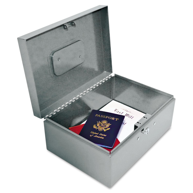 SteelMaster Locking Heavy-Duty Security Box, Tumbler Lock, Gray