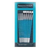 Creative Mark Masking Fluid Paint Brush Synthetic Hair, Short Wood Handles - Set of 10
