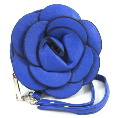 Raised 3D Blue Flower Floral Rose Wallet Wristlet Bag Purse w/ Detachable Strap