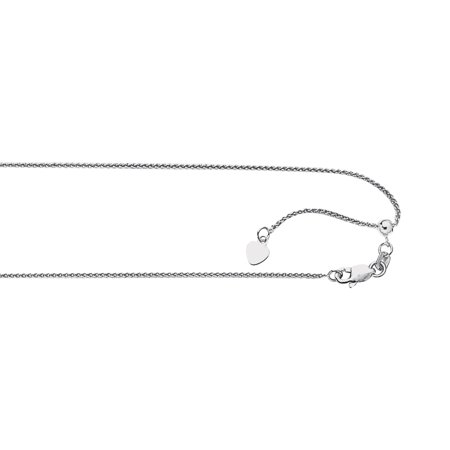 - 925 Sterling Silver .9mm Heart Adjustable Spiga Wheat Chain 22