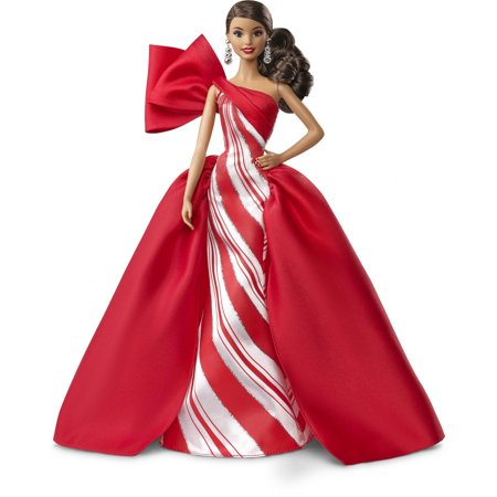 Barbie 2019 Holiday Doll, Brunette Side Ponytail with Red & White Gown ()