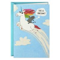Hallmark Shoebox Funny Birthday Card (Cat Riding a Unicorn)