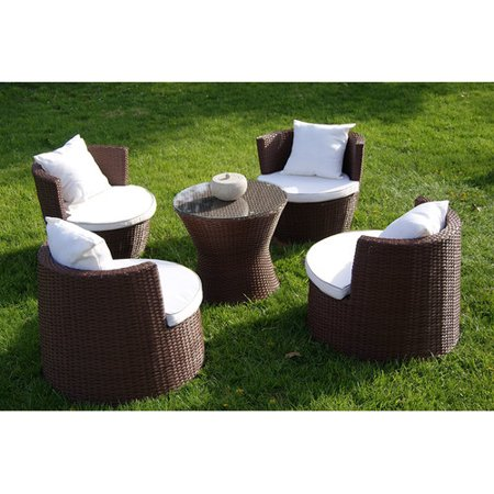 Deeco Geo Vase 5 Piece Sunbrella Conversational Set With Cushions