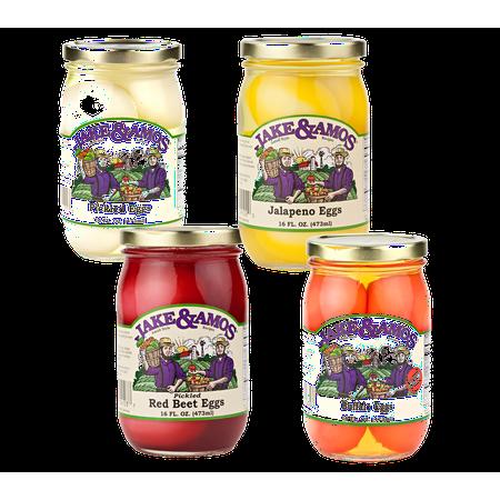 Jake & Amos Pickled Eggs Variety 4-Pack 16 oz. Jars: Pickled, Red Beet, Buffalo, Jalapeño (1 Jar of Each)