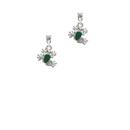 - Silvertone Mini Green Tree Frog Clear Crystal Post Earrings