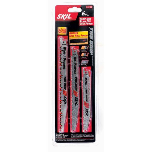 Skil 94103 6-Piece Reciprocating Saw Blade Set with Pouch