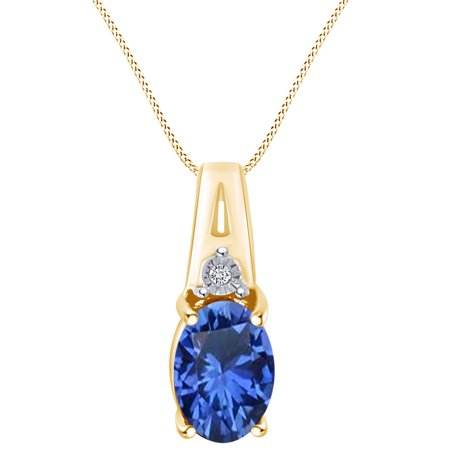 0.94 Cttw Oval Cut Simulated Blue Sapphire & White Natural Diamond Necklace Pendant 10k Solid Yellow Gold