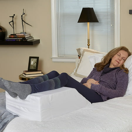 Hermell Elevating Leg Rest with White Polycotton cover, Improve Circulation and Reduce Lower Back Pain, Helps Reduce Ankle and Feet Swelling, Removable Machine Washable Cover, FW4020MO