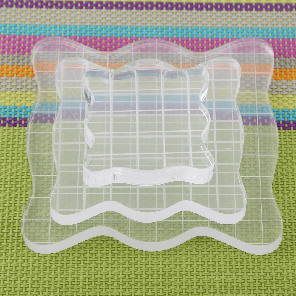 Yosoo Transparent Clear Acrylic Block Pad for Scrapbooking Color Stamping Process Essential Tools, Acrylic Stamping Block,  Acrylic Grid Block
