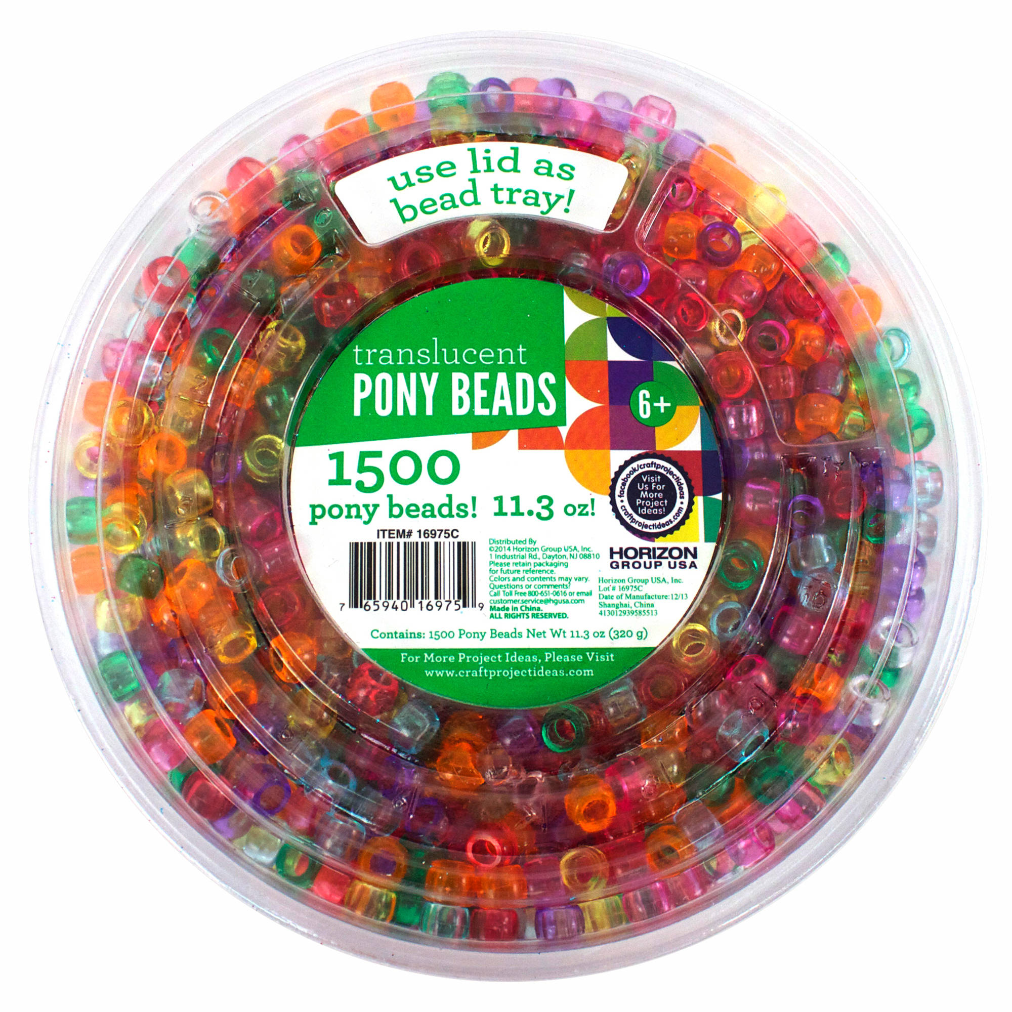 Kids Craft Plastic Pony Beads, Translucent Color by Horizon Group USA