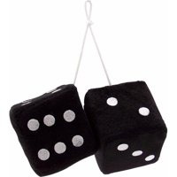 Vintage Parts 14553 3 in. Black Fuzzy Dice with White Dots - Pair