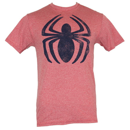 Spider Man Moisture Wicking Mens T Shirt Spread Distressed Blue