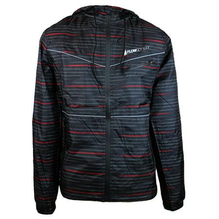 Flow Society Men's Graphic Windbreaker Rain Coat Jacket MKS73514 Static Black Red Gray -