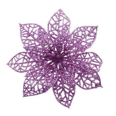 KABOER 10x Glitter Christmas Poinsettia Artificial Flowers Clip Xmas Tree Decor 15cm (Pink Poinsettia)