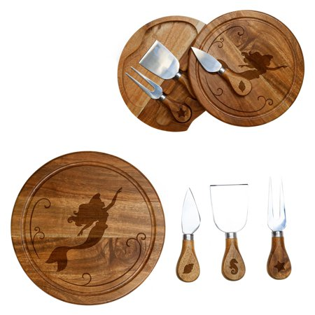Picnic Time The Little Mermaid Acacia Brie Cheese Board and Tools Set