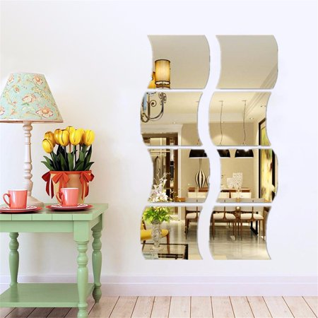 6 PCS 3D Mirror Wall Stickers Acrylic Vinyl Flexible Removable Home View Window Decal Art Decor Mural For Home Living Room Decoration (Living Room Mantel Decor)
