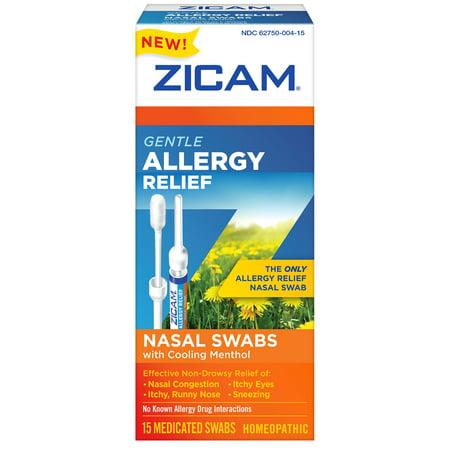 Zicam Gentle Allergy Relief Nasal Swabs with Cooling Menthol, 15 Ct