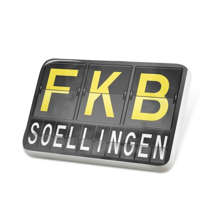 Porcelein Pin Fkb Airport Code For Soellingen Lapel Badge   Neonblond
