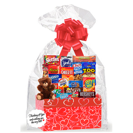 - Red Hearts Valentines Day Thinking Of You Cookies, Candy & More Care Package Snack Gift Box Bundle Set