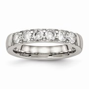 Mia Diamonds Stainless Steel Polished Cubic Zirconia (CZ) 4.00mm Wedding Engagement Band Ring Size - 7