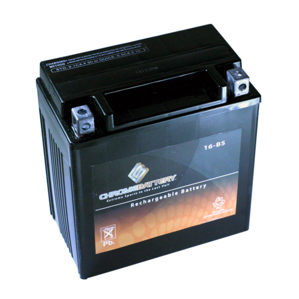 Chrome Battery M00029-10000 YTX16-BS High Performance Maintenance Free Sealed AGM Motorcycle Battery