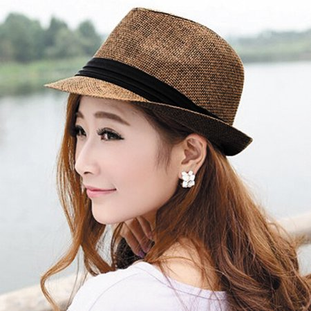 Fashion Men Women Straw Hat Contrast Ribbon Fedora Curly Brim Unisex Panama Jazz Trilby Hat Cap - image 1 de 5