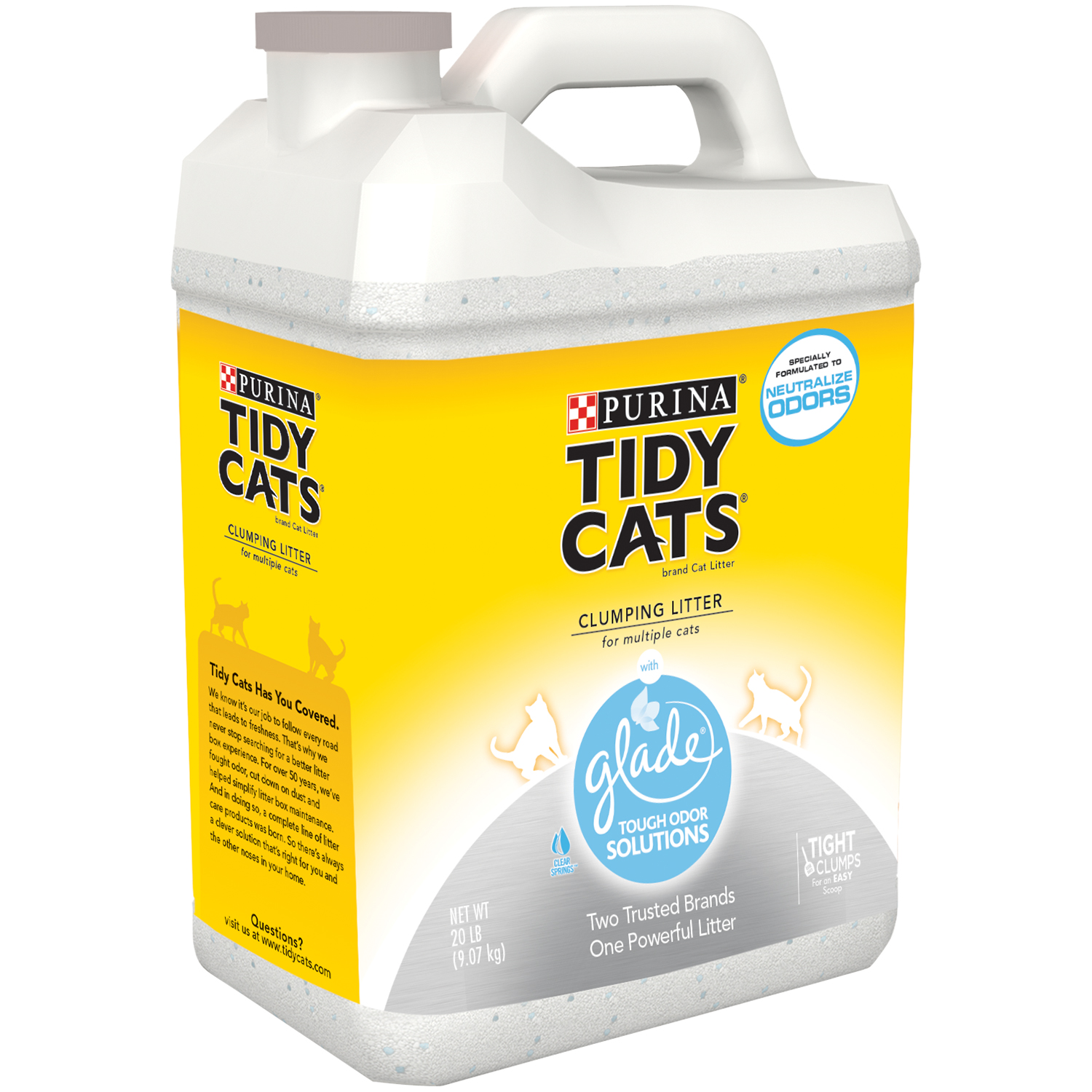 Purina Tidy Cats Clumping Cat Litter with Glade Tough Odor Solutions for Multiple Cats 20 lb. Jug