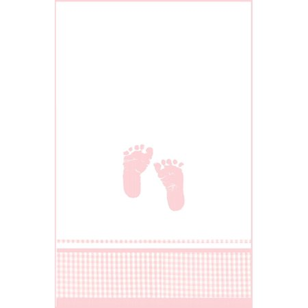 Baby Girl Pink Footprints Printed Plastic Tablecover](Pink Baby Footprints)
