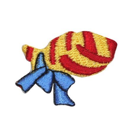 ID 8245 Lot of 3 Gift Wrapped Fish Patch Present Embroidered Iron On Applique